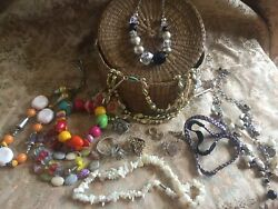 Vintage Costume Jewellery 2 Dress Rings Earrings Brooch And Necklaces Job Lot