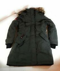 Canada Weather Gear Womens Parka Jacket Green Zip Up Hooded Belted Pockets M