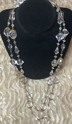 Vintage Gold Tone And Lucite Beaded Necklace Convertible Clasp To 1 Or 2 Strands