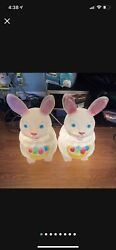 """Vintage Empire Easter Bunny With Basket Of Eggs Blow Mold 22"""" Rabbit Lot Of 2"""