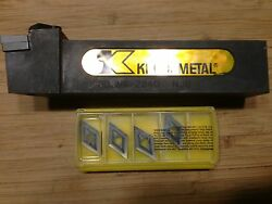 Kennametal Indexable Holder Ddjnr-204d 1.25 Sq Shank 6 Oal + 5 Inserts New