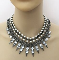 Necklace Spike Block Chain Crystals Pearls Gothic Choker Steampunk Statement