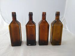 Lot Of 4 1872 Doyles Hop Bitters Crude Colored Bottle Amber Olive Yellow 2