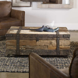 44 L Rolling Coffee Table Trunk Rustic Reclaimed Wood With Metal Strapping