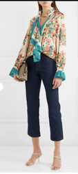 46it- Floral Ruffle Shirt Blouse- With Tags- Rrp3,200 Aud