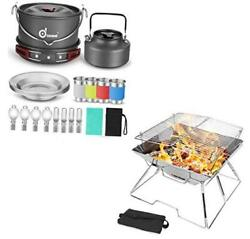 22pcs Camping Cookware Mess Kit And Folding Campfire Grill For Outdoor