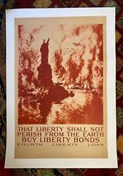 Wwi Liberty Bond Poster, That Liberty Shall Not Perish, By Pennell, Linen Backed
