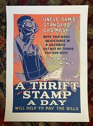 Wwi Vintage Poster 2018 Uncle Samand039s Gas Mask Thrift Stamp Linen Backed