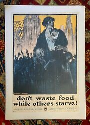 Vintage Wwi Poster Donand039t Waste Food While Others Starve Circa 1917 On Linen