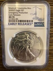 2020 P 1 American Silver Eagle Ngc Ms70 Emergency Production Early Release F