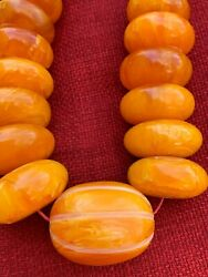 Huge 268 Grams Antique Copal Amber Traditional African Trade Beads Necklace