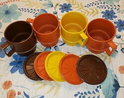 4 Vintage Tupperware Stacking Coffee Cup Mug 1312, With Lids, 70's
