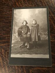 Antique Cabinet Photo Audubon Iowa Two Young Girls Family Sisters Dresses