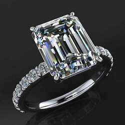 4.90 Carat Emerald Cut Moissanite Accented Engagement Ring 14k White Gold Plated