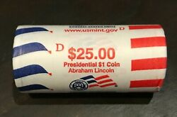 2010-d Abraham Lincoln Presidential Dollar Us Mint Roll 25-1 Coins