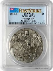 2018 Vikings 2 Oz Silver High Relief Antique Finish Coin Pcgs Ms70-first Strike