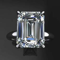 6.00 Ct Emerald Cut Moissanite Solitaire Engagement Ring 14k White Gold Finished