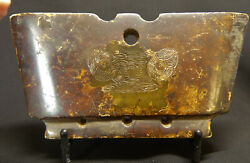 Ancient Chinese Liangzhu Jade Dragon And Taotie Ritual Amulet/plaque W/translation