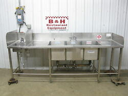8and039 5 Stainless Steel Heavy Duty 3 Bowl Three Compartment Sink W/ Hand Sink 101