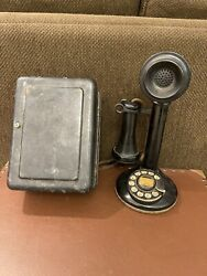 Antique American Bell 4H Dial Candlestick Phone Metal Ringer Box