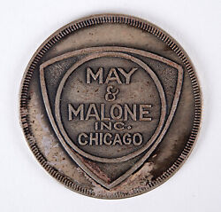 Vintage White Metal Department Store May And Malone Charge Coin Token Chicago