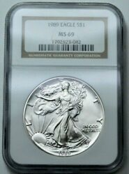 1989 Ngc Ms69 American Silver Eagle Dollar 1 Oz 999 Fine Silver Ase, Graded Coin