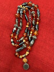 Antique Tibetan Striped Agate, Amber, Silver Beaded Necklace W/ Sterling Pendant