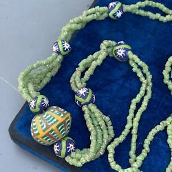 Old African Trade Beads Millefiori Hand Made Glass Beaded Necklace