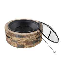 35 In. X 20.5 In. Round Cast Stone Wood Burning Fire Pit With Hook And Screen