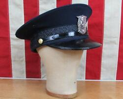 Vintage 1950s Ironville Fire Co.firefighters Wool Visor Cap Police Hat 7 1/8 Pa.