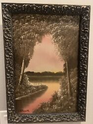 Antique Landscape Oil Painting On Board Signed Hitchcock Framed 16andrdquo X 24andrdquo