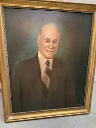 Frederick L Hovde Oil On Board Portrait Painting Purdue President 1946 - 1971