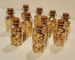 10 Pack 24kt Gold Leaf Flakes In Glass Bottles W Cork Top Parties Weddings Gifts