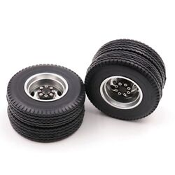 5xrear Rubber Loader Wheels With Rims For Tamiya 1/14 Scale Tractor Rear For