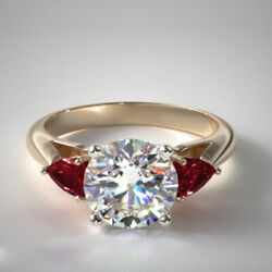 Real 1.56 Carat Diamond Ruby Wedding Ring Solid 14k Yellow Gold Rings Size 6 8 9