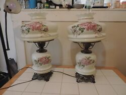 Pair Vintage Large Electric Hurricane Lamps Floral, Accurate Casting Co