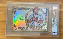 Mike Trout 2018 Topps Gypsy Queen Glassworks Box Topper Autograph Bgs 9 Auto 10