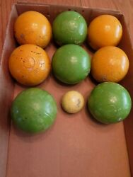 Vintage Brevettato Bocce Ball Set Lawn Bowling Game W/ Pallino Made In Italy