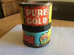 1933 Vintage Pep Boys Pure As Gold 1 Lb Grease Old Tin Oil Can 3/4 Full
