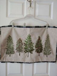 Pottery Barn Forest Embroidered Trees Christmas Pillow Cover W/insert 16x26 Nwt