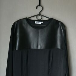 Authentic Luxury Women's MOSCHINO JEANS Black Leather Tulle Blouse Size US 12 $39.99