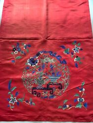 Antique Chinese China Mandarin Silk Embroidered Rank Textile Qing Chair Panel 19
