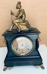 Antique Gilbert Statue With Sword Figural Clock