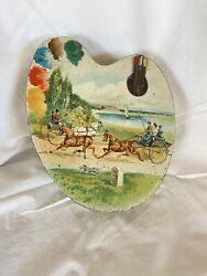 Vintage Huntley And Palmers Biscuit Tin Artists Palette Horse And Carriage Scene