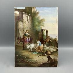 Antique Plaque Of Porcelain Painted Period Nineteenth Century Signed