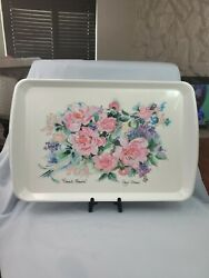 Vintage Design Imports Large Floral Flowers Serving Tray Italy Melamine 14 X 22