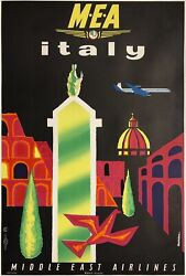 Original Vintage Poster Middle East Airlines Mea - Italy Boac Airline Travel Ol