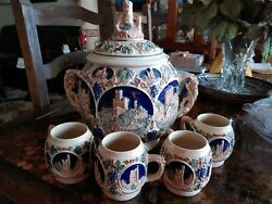 Vintage Gerz Germany Beer Mugs Cups Steins W/ Punch Bowl Tureen Decanter Castle