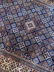 Stunning Quality Blue Oriental Rug Handmade In India, Floral And Geometric, 8x10