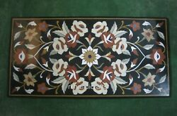 24 X 48 Inches Marble Restaurant Table Top Peitra Dura Art Black Dining Table